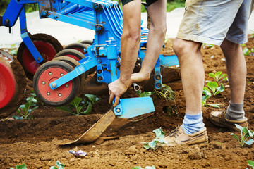 Man realigning a cultivator in a field.