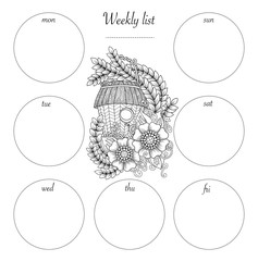 Planner Design and hand drawn coloring page. Black and white floral pattern and the doodle bird house.