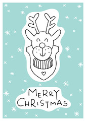 Greeting card with lettering, wishes, holiday Christmas or New Year. Christmas, lettering written underneath drawn cartoon animals