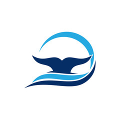 Blue Whale Fin Tail Dive Underwater Logo Template