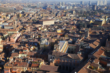 Bologna city seen from Asinelli tower, Bologna, Emilia-Romagna, Italy, Europe