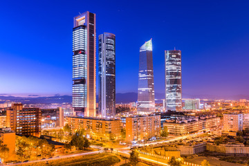 Madrid, Spain skyline in the financial district.