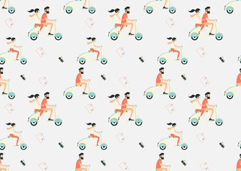Travel seamless pattern, couple just riding riding scooter
