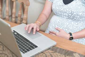 Pregnant woman working on laptop at home