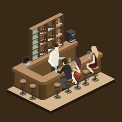 Isometric 3D flat interior of bar or pub.