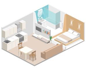 Isometric flat 3D concept vector interior of studio apartments