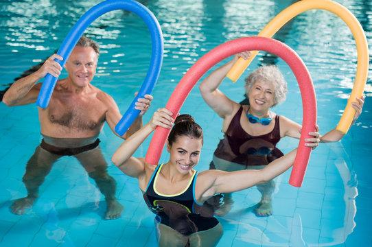 Aqua aerobics with seniors