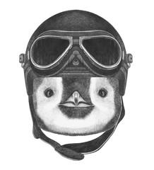 Portrait of  Penguin with  Vintage Helmet. Hand drawn illustration.