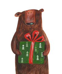 Bear with gift with hearts. Hand drawing illustration