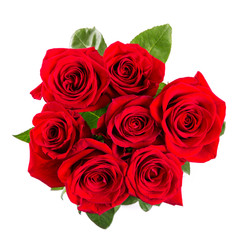 red roses bouqet isolated on white background