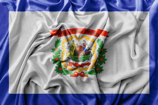 Ruffled waving United States West Virginia flag