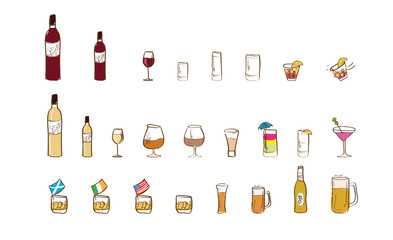 alcoholic drinks icon set - free style - without background