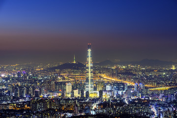 Seoul capital in misty day.