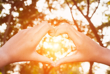 Hand in shape of heart for love and have sun light in centre.