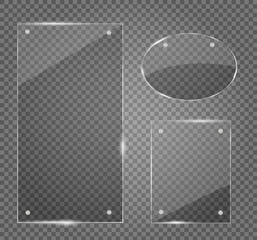 Glass plates set. Vector banners on transparent background