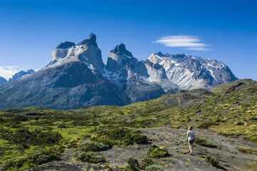 Woman enjoying the incredible mountains of the Torres del Paine National Park, Patagonia, Chile, South America
