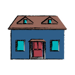 drawing blue house red door simple vector illustration eps 10