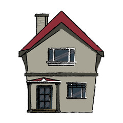 drawing american house domestic chimney vector illustration eps 10