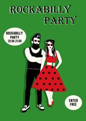 Invitation flyer with rockabilly couple. Rockabilly poster. Rockabilly event