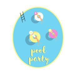 Girls with lifebuoy floating on water, vector illustration. pool party postcard, invitation poster