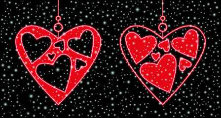 winter background, hearts