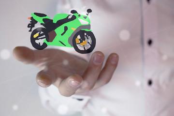 man holding motorcycle