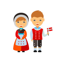 Dane couple in national dress vector icon
