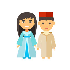 Moroccan couple in national costume icon