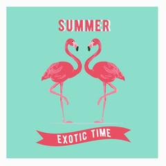 Vector illustration pink flamingo couple. Exotic bird. Summer postercard. Summer logo vector.
