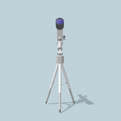 Telescope. Isolated on blue. 3d Vector illustration.Front view.