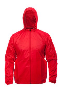 Red windbreaker sports jacket with hood, isolated on white