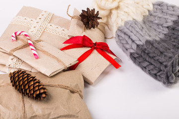 Christmas card concept. New Year's gift boxes background