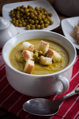 Cream soup with canned pea soup with croutons.