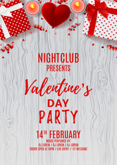 Happy Valentine's Day party flyer. Top view on gift boxes and red case for ring. Beautiful backdrop with candles and serpentine on wooden texture. Vector illustration. Invitation to nightclub.