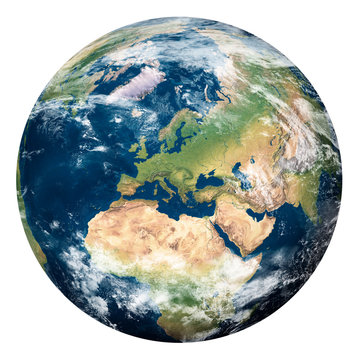 Planet Earth with clouds, Europe and part of Asia and Africa - Pianeta Terra con nuvole, Europa e parte di Asia e Africa