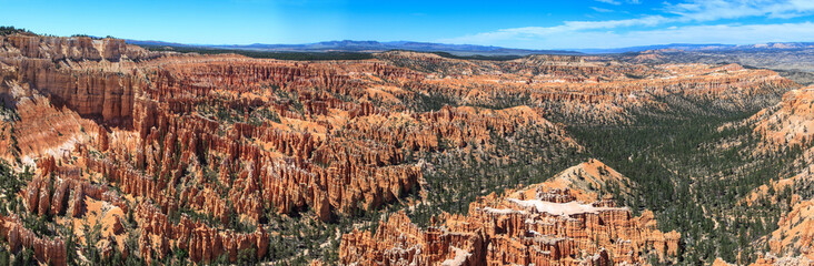 Panoramic view of Bryce Canyon National Park amphitheater.