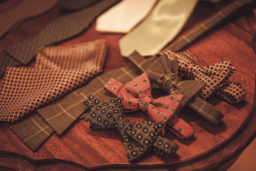 Custom made bow tie and necktie in tailor studio