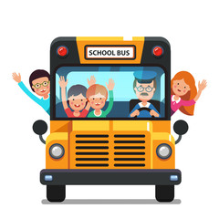 Happy kids riding on a school bus with driver