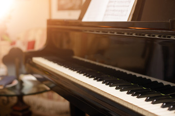 Piano keyboard with shallow depth of field focus