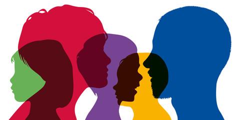 Famille nombreuse - Tête - Silhouette - Profil - Parent - Enfant