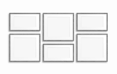 Collage of six blank photo frames, interiors mock up