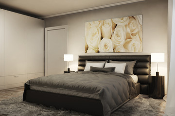3D rendering of modern bedroom with white roses in the evening