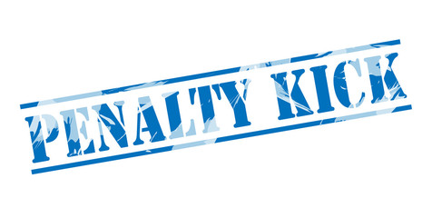 penalty kick blue stamp on white background