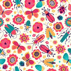 Seamless pattern of illustrations with beetles and butterflies. Cartoon
