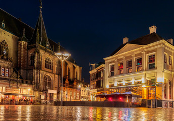Evening view of the Dutch central square in the city of Zwolle