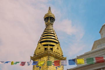 Wisdom eyes of Buddha in Swayambhunath Stupa after the earthquake ,Kathmandu, Nepal.