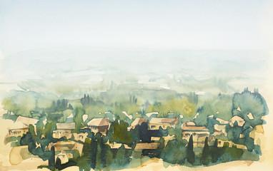 Tuscany watercolor painting