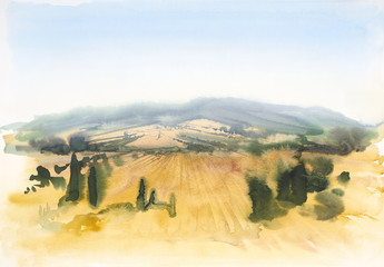 Tuscany watercolor painting