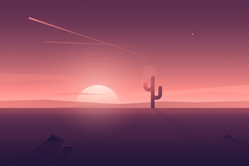 Vector modern flat desert landscape with lonely cactus