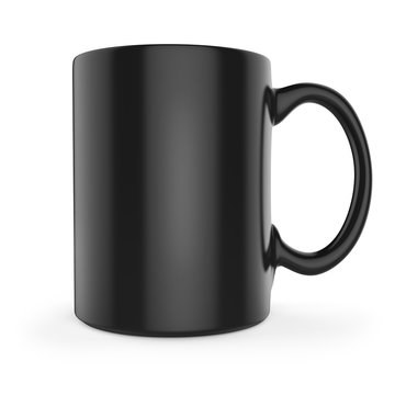 Black tea or coffee mug side view.